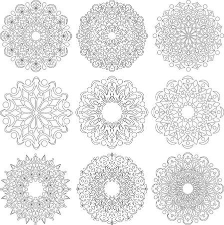 no color: A set of colored round ornaments. Mandala, lace, ornament.