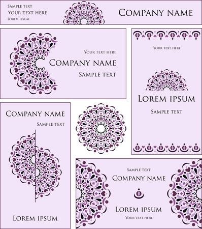 marca libros: Un conjunto de tarjetas de colores. El estilo de la empresa. El formulario para la empresa. Ronda de elemento de diseño de encaje.