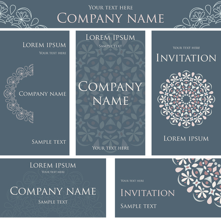 set form: A set of colored cards. The corporate style. The form for the company. Round lace design element.