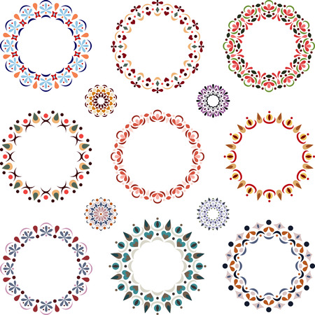 detail: Set of round elements for design. Colored round frame. Elegant round lace.
