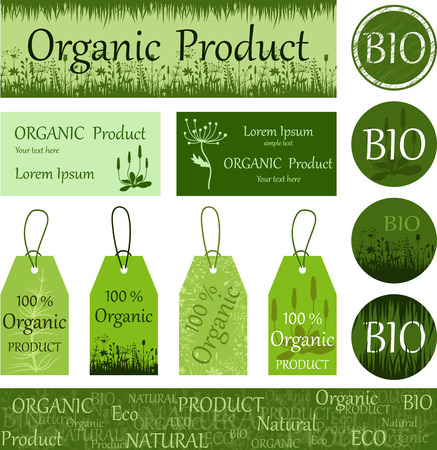 blanks: Organic, natural product. Eco. Bio. A set of elements, blanks, cards.