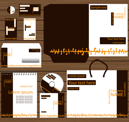 inscription: The corporate style. The brand book. Brown and orange color.