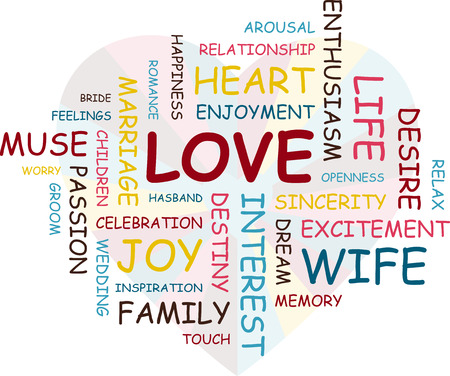 association: The inscription love. Association to the word love. Colored words.