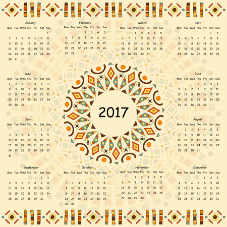thousand: Calendar two thousand seventeenth year. Egyptian patterns. Illustration