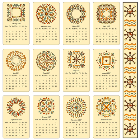 thousand: Calendar two thousand seventeenth year. Egyptian patterns. Cards for every month of the year.