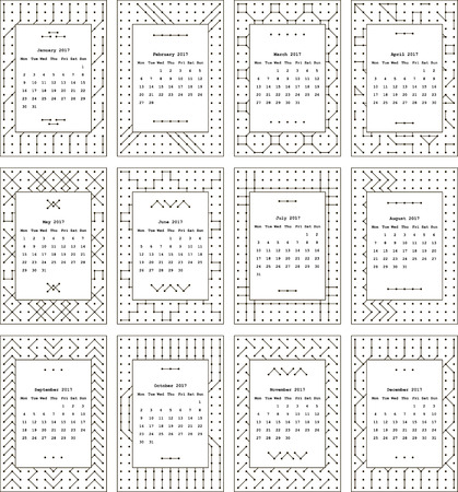 seventeenth: Calendar for two thousand seventeenth year. Separately every month. The pattern of dots and lines. Black-and-white.