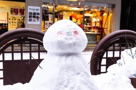 Takayama, Japan : Snowman in the city