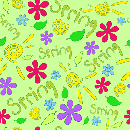 sun flowers: Spring seamless pattern with sun, flowers and leaf