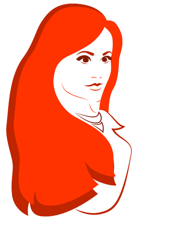 redhead girl: Redhead girl on the white background. Vector illustration