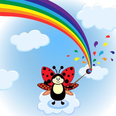 rainbow sky: Little cartoon beetle and rainbow on the sky. Vector illustration
