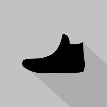 fashionably: Womens sneakers monochrome icon. Vector illustration