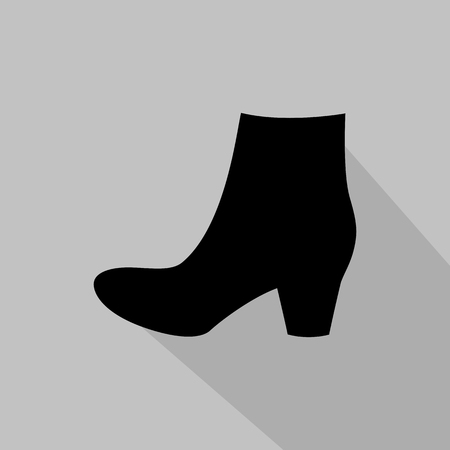 fashionably: Womens boots monochrome icon. Vector illustration