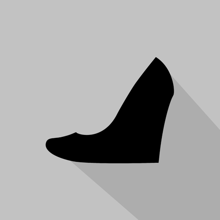 fashionably: Womens wedge-heeled shoe monochrome icon. Vector illustration