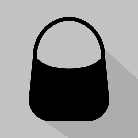 fashionably: Womens black hobo bag icon. Vector illustration