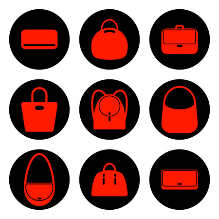 fashionably: Set of red womens bags icons. Vector illustration Illustration