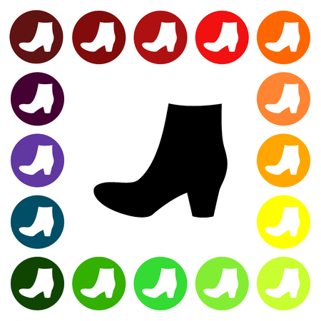 fashionably: Set of colorful womens  boots shoe icons. Vector illustration