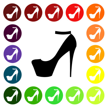 fashionably: Set of colorful womens  high-heeled shoe icons. Vector illustration Illustration