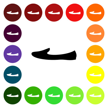 loafer: Set of colorful womens loafer shoe icons. Vector illustration