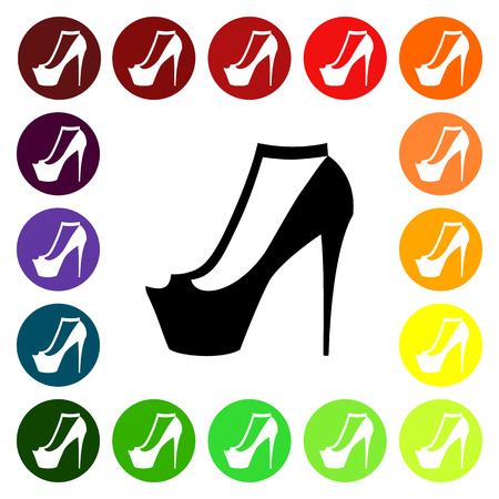 open toe: Set of colorful womens open toe shoe icons. Vector illustration
