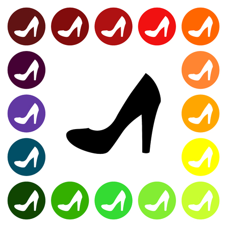 pump shoe: Set of colorful womens pump shoe icons. Vector illustration