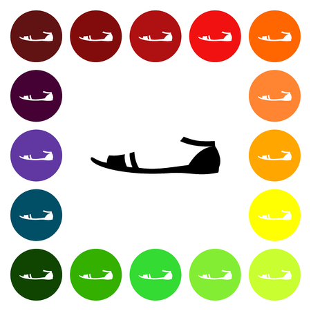 sandals: Set of colorful womens sandals icons. Vector illustration Illustration
