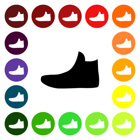 fashionably: Set of colorful womens sneakers icons. Vector illustration