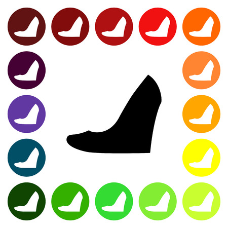 fashionably: Set of colorful womens wedge shoe icons. Vector illustration