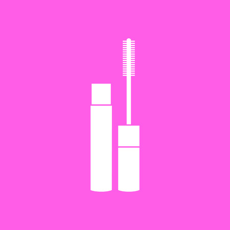 fashionably: Makeup mascara pink icon. Vector illustration