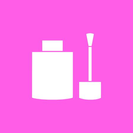 nail polish: Makeup nail polish pink icon. Vector illustration