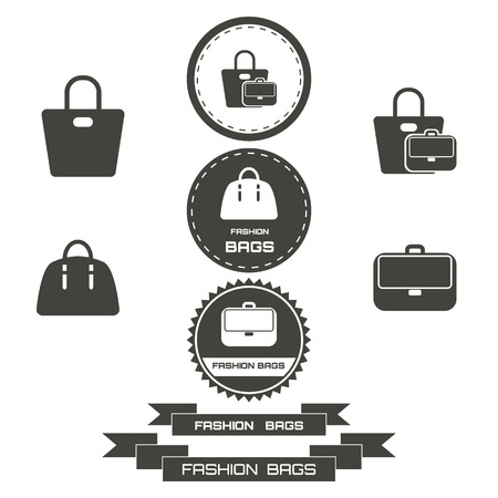 fashionably: Set of vintage fashionably bags logos, emblems, elements. Vector illustration