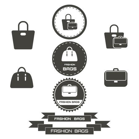 fashionably: Set of vintage fashionably bags logos, emblems, elements. Vector illustration