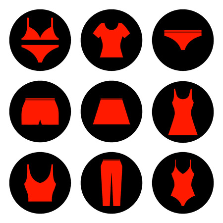 fashionably: Set of fashionably womens clothing elements. Vector illustration