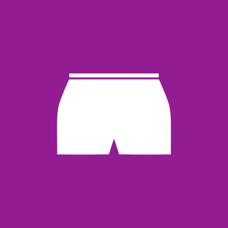 fashionably: Womens white shorts icon on purple background. Vector illustration