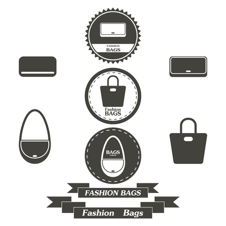 fashionably: Set of vintage fashionably bags logos, emblems and elements. Vector illustration