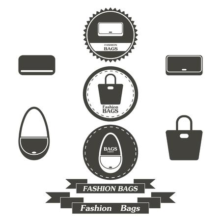 fashionably: Set of vintage fashionably bags logos, emblems and elements. Vector illustration