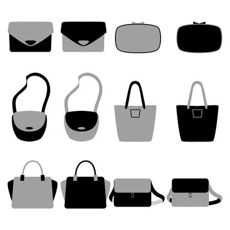 fashionably: Set of grey and black isolated fashionably bags. Vector illustration Illustration