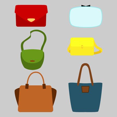 fashionably: Set of colorful fashionably bags. Vector illustration Illustration