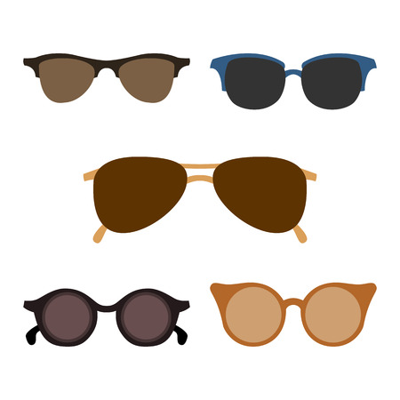 fashionably: Set of isolated fashionably glasses. Vector illustration