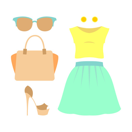fashionably: Set of trendy girls clothes. Vector illustration