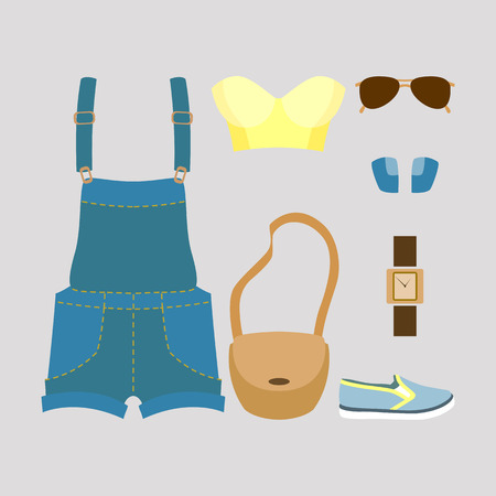 fashionably: Set of trendy womens clothes. Vector illustration
