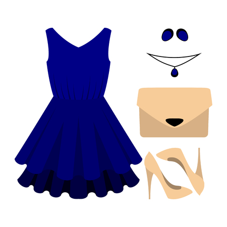 fashionable: Set of trendy womens clothes with blue dress and accessories. Vector illustration