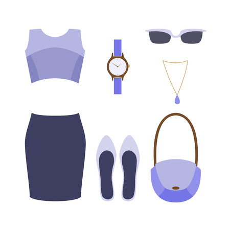 pump shoe: Set of trendy women clothes with skirt, top and accessories. Vector illustration Illustration