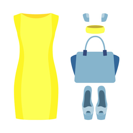 yellow dress: Set of trendy womens clothes with yellow dress and accessories. Vector illustration