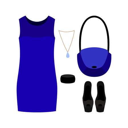 open toe: Set of trendy womens clothes with blue dress and accessories. Vector illustration