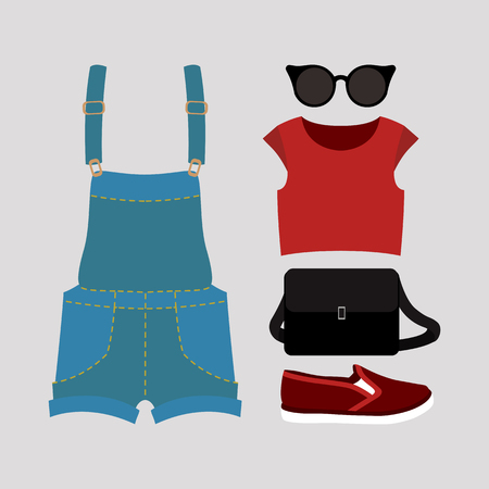 fashionably: Set of trendy womens clothes with coveralls, top, slip-on and accessories. Vector illustration