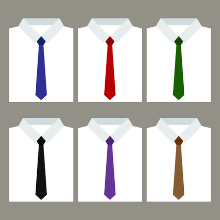 men's: Set of trendy mens shirts with ties. Vector illustration Illustration