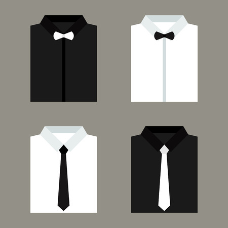 men's: Set of trendy white and black mens shirts with ties and bow ties. Vector illustration