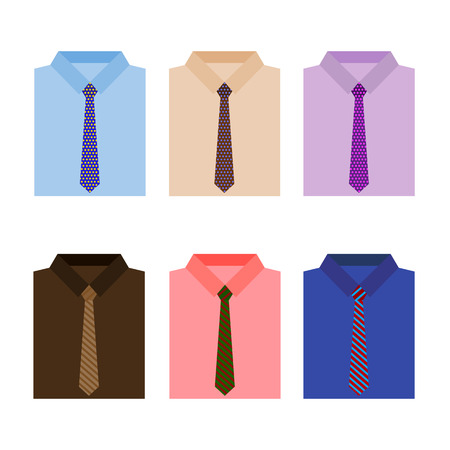 fashionably: Set of trendy colorful mens shirts with ties. Vector illustration