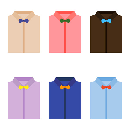 fashionably: Set of trendy colorful mens shirts with bow ties. Vector illustration Illustration