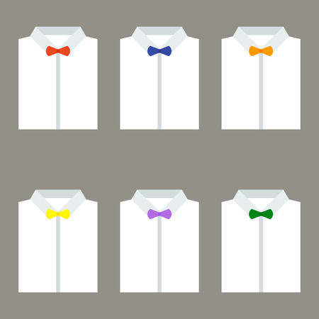 s tie: Set of trendy white mens shirts with bow ties. Vector illustration